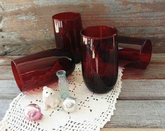 Mid Century Ruby Red Tumbler Set of 4 Matching Glasses - Vintage Dark Red Drinking Glasses, Four Deep Red Glasses, OOAK Housewarming Gifts