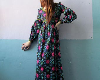 Vtg 70s Floral Maxi / Princess Sleeve / Rapunzel Dress / Festival Dress