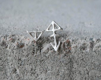 TERÄVÄ Earrings mismatched Sterling silver, hand formed unique design, recycled silver