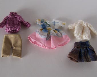 Miniature Dollhouse Clothes 1:12 Scale, Lot of 5 Items Doll House Miniature Accessories, Girl's Bedroom Display, Featuring Hand Knit Items