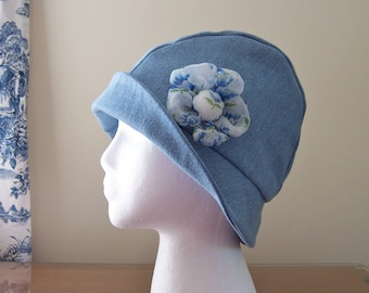 Chemo Hat Cloche Style in Blue Cotton Denim for Women, Satin Lined with Vintage Handkerchief Flower Feature, Ships ASAP, Cancer Patient Gift