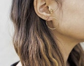 ON SALE Gold fill Circle Hoops- gold Hoop Studs- gold Circle Studs- gold Hoop Earrings- gold Circle Studs