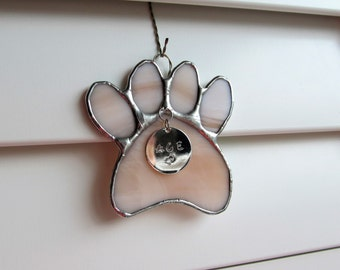 "Stained Glass Paw Print ""Paws To Remember"" - Fleshtone Opal Stained Glass Suncatcher or Memorial Marker - Unique - Medium size"