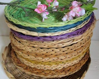 Wicker Paper Plate Holder Your Choice of set 6 10 12 20 30, Picnics Lot,Your Choice Green Purple Sturdy VINTAGE Wicker Paper Plates Holders