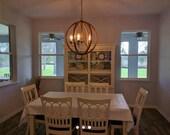 """24"""" Distressed Painted Brown Wood Orb Chandelier Sphere Wood Chandelier Rustic Farmhouse"""