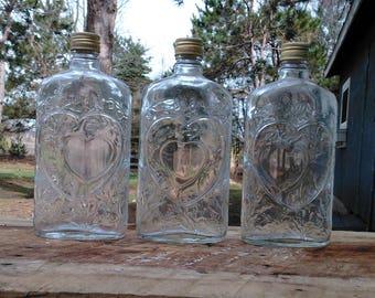 Vintage Double Heart Liquor Bottles - Wedding Decor - Wedding Gift - Farm - Country Wedding - Wedding Party