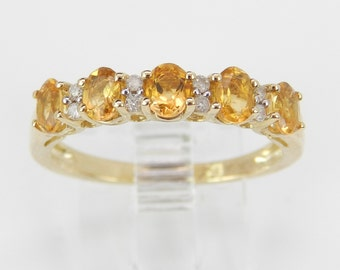 Diamond and Citrine Wedding Ring Anniversary Band Yellow Gold Size 7.25 November Birthstone