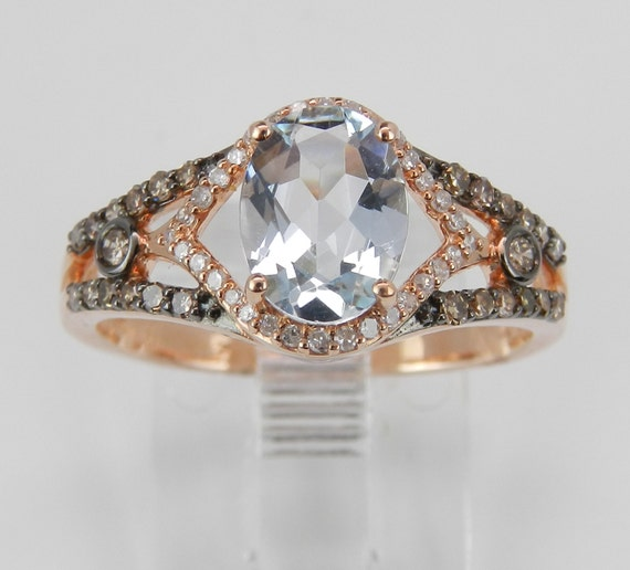 Aquamarine and Fancy Diamond Engagement Ring 14K Rose Gold Size 7 March Birthstone