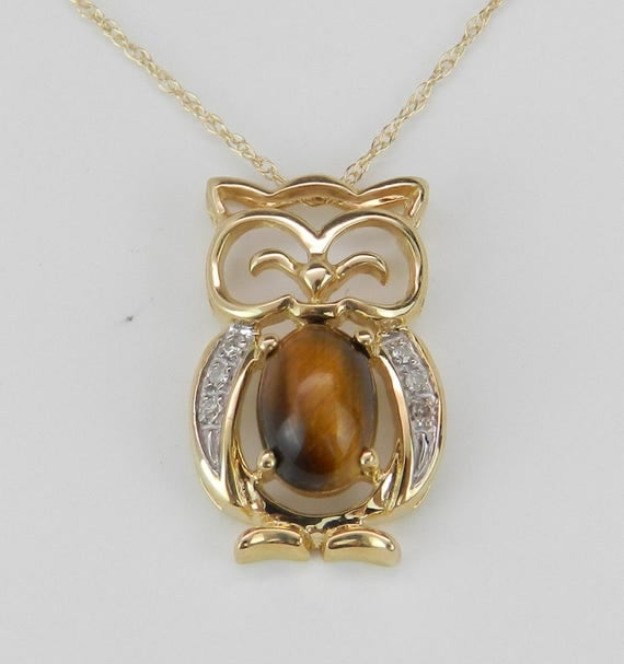"Diamond and Tiger Eye Owl Pendant Bird Necklace 18"" Chain 14K Yellow Gold Unique"