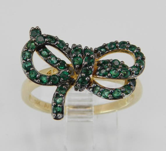 14K Yellow Gold Emerald Bow Tie Cluster Ring Size 7 May Gem Birthstone