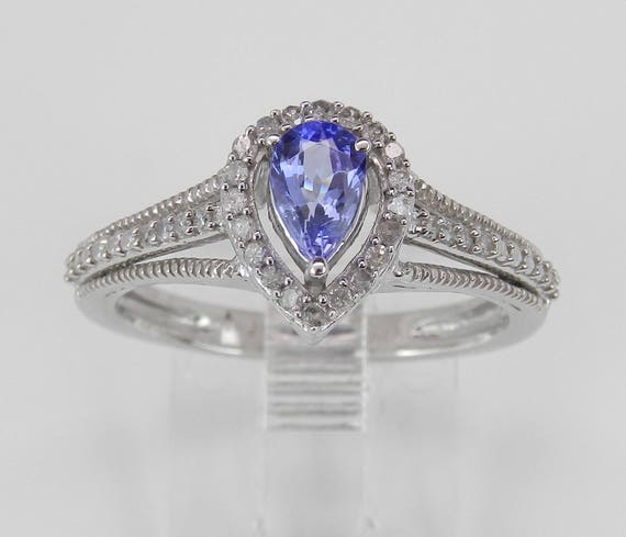 Pear Tanzanite and Diamond Halo Engagement Promise Ring White Gold Size 7