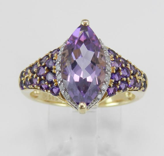 Diamond and Amethyst Engagement Promise Ring Size 8 February Gem 14K Yellow Gold