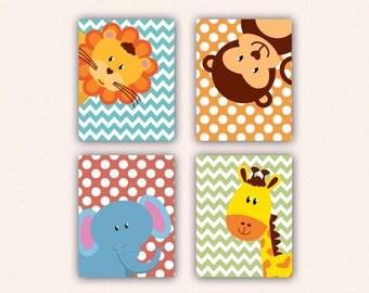 Jungle Animal Nursery Print Set - Elephant Monkey Giraffe Lion Kids Bedroom Art, Chevron and Polka Dot Safari Decor in Teal, Coral (5008)