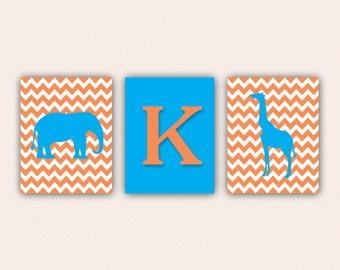 Chevron Elephant Monogram and Giraffe Print Set - Orange and Turquoise Wall Art - Zoo or Jungle Nursery Art (5005)