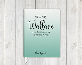 Mint Ombre Wedding Guest Book with Mr and Mrs Last Name - Personalized Traditional Guestbook, Journal, Album
