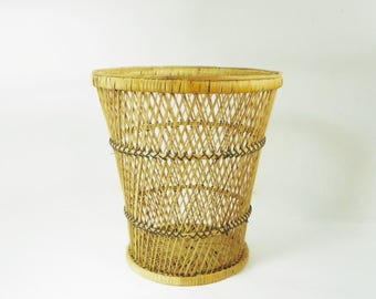 1970's Wicker Planter Basket, Vintage Natural Wicker Plant Stand, Boho Chic
