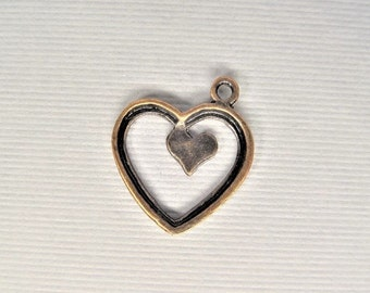 20mm*17mm. 10CT. Copper Toned Heart Charms, Y49