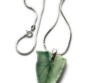 Ceramic Leaf Pendant, Necklace, Ceramic Leaf Necklace