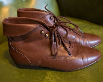 Vintage Brown Ankle Boots Size 7