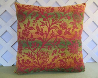 Floral Pillow Cover in Burgundy Green Gold Orange  / Accent Pillow / Decorative Pillow / 20 x 20 Pillow