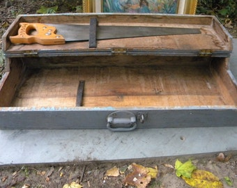 nice sturdy strong 1920s 1930s vintage antique wood wooden CARPENTERS TOOL GARDEN box