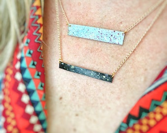 Universe Nameplate Necklace - Hand Painted Space Pendant