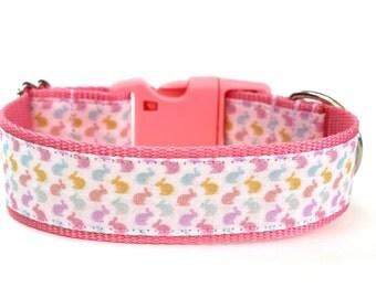 "Easter Dog Collar 1"" or 1.5"" Bunny Dog Collar"