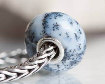 Gemstone Dendritic opal faceted bead fits charm bracelets small core