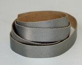 7-10 mm  Metallic Leather Strap, Gray-Green  Genuine Leather , Cowskin 1 Yard