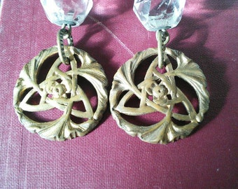 OOAK Upcycle crystal and Celtic Trinity earrings