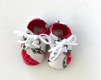 Baby shoes / toddler shoes- lace up soft soled shoes in watermelon pattern.