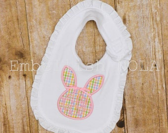 Easter Bunny Monogram Applique Ruffle Bib