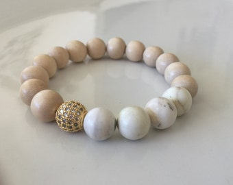 Wisdom & Calming - Healing Balance Bracelet - Whitewood with Gold