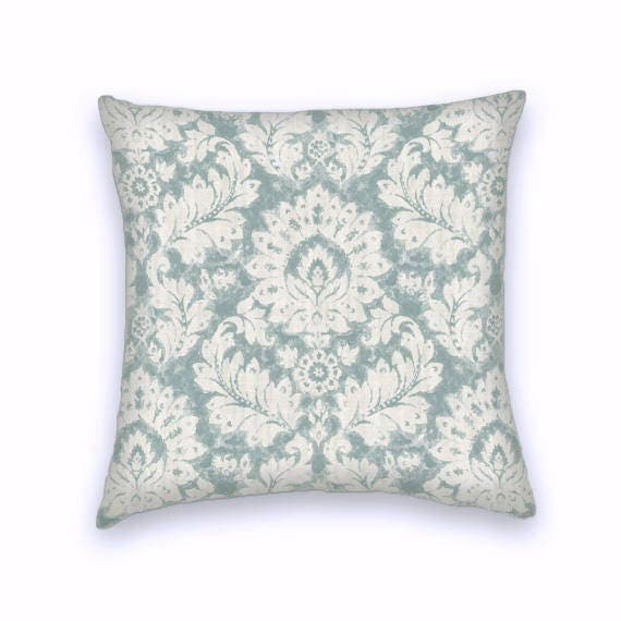 Light Blue Patterned Throw Pillow : Light Blue Cream Floral Decorative Throw Pillow-18x18 or 20x20