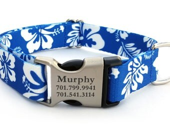 HAWAIIAN Polyester Webbing Dog Collar with Laser Engraved Personalized Buckle - BLUE