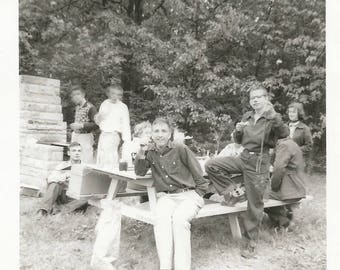 "Vintage Snapshot ""Can't Keep Still"" Teenage Boys Blurry Head Motion Found Vernacular Photo Cookout Picnic"