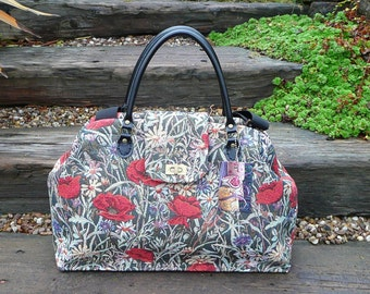 Carpet Bag, Overnight Bag, Mary Poppins Bag, Tote, Large day bag, Poppy Tapestry Bag, Large Tote