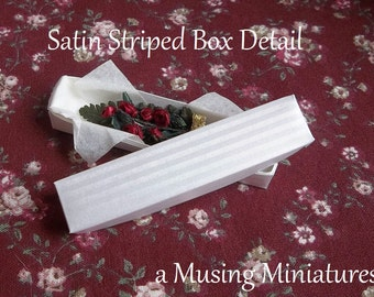 Longstem Wine Roses in Florist Box in 1:12 Scale for Dollhouse Miniature Valentine Roombox