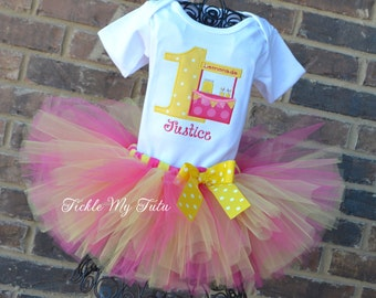 Lemonade Stand Birthday Tutu Outfit-Dark Pink and Yellow Lemonade Stand Birthday Tutu Set-Lemonade Party Outfit