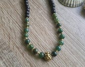 Conqueror Necklace  (natural stone and wood bead lion necklace)