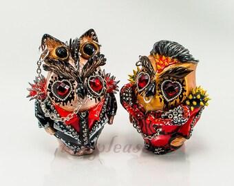 Owl Gothic Punk- rock -love weddings cake topper handmade bride and groom
