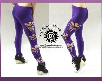 "Womens / Juniors ""SEXY PURPLE"" Cut Up, Shredded and Weaved Purple Leggings, Festival Wear, Burning Man Wear - L-3012"