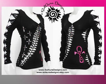 ANKH IN WINE -  Junior / Womens Shredded Top, Long Sleeve Cut Up Black Top, Club Wear, Yoga Wear