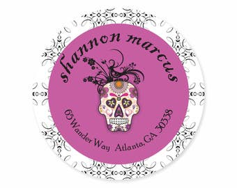 Halloween Fall Sugar Skull Address Labels Stickers