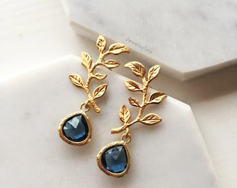 Navy Blue Gold Earrings, Sapphire Bridal Earrings, Birthstone Jewellery, Leaf, Elegant, Wedding Earrings, Bridesmaids Gift, Earrings Set