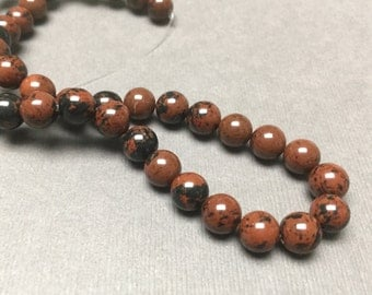 Mahogany Obsidian Round Beads. Black. Rust. Opaque. Gemstone Beads. Center Drilled. 8mm. Full 13.5 Inch Strand.