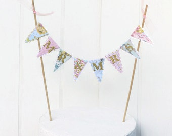 Mr & Mrs Wedding Cake Topper - Floral Cake Bunting - Gold, Mint, Peach, Lilac