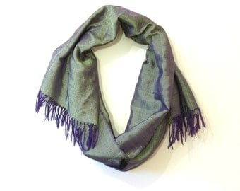 Green and purple shimmery hand-woven cotton scarf from Ethiopia