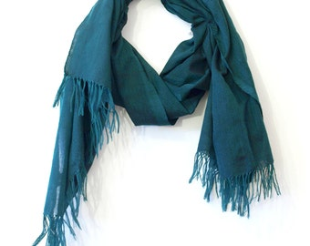 Solid dark green scarf, handwoven in Ethiopia