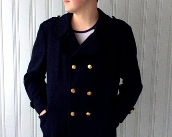 vintage 1980s Navy Peacoat London Fog Brand MainCoat Chest 46 Wool Double breasted Pea Jacket with Canadian Naval Brass Buttons XL or XXL
